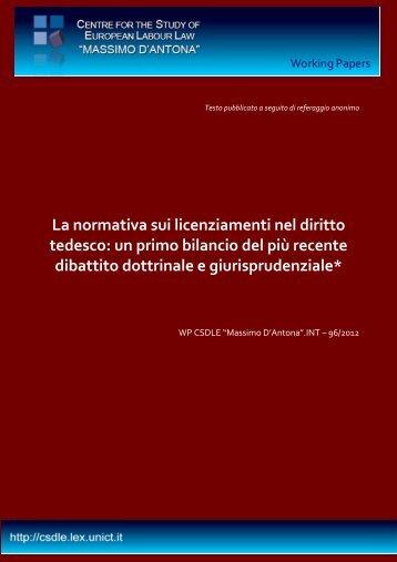 Raffaello Santagata - Centre for the Study of European Labour Law ...