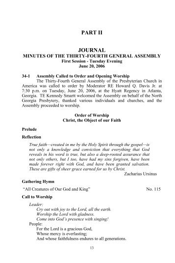 Minutes of the Thirty-fourth General Assembly (2006) of the ...