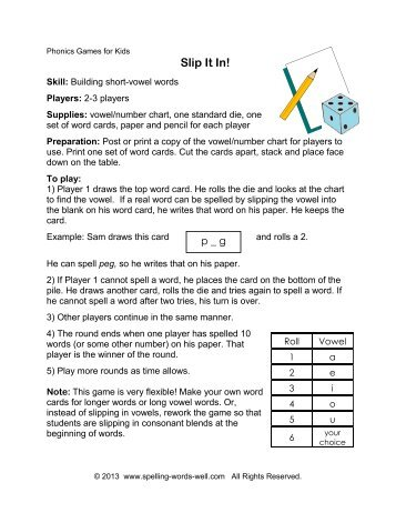 Printable Instructions & Word Cards - Spelling Words Well