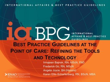 BEST PRACTICE GUIDELINES AT THE POINT OF CARE ... - IUPUI