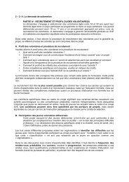 RECRUTEMENT ET PROFIL DU/DES VOLONTAIRE(S) - Injep