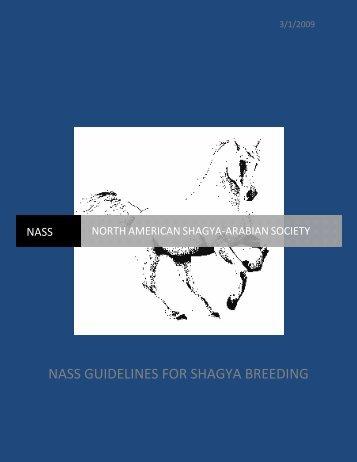 NASS GUIDELINES FOR SHAGYA BREEDING - North American ...