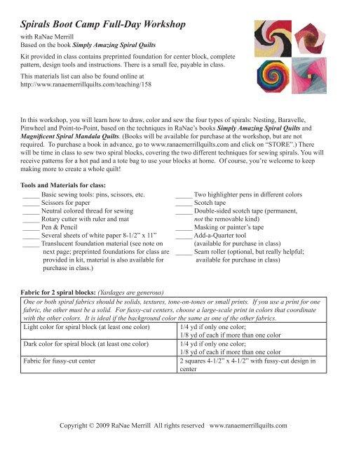 Materials & Prep List - RaNae Merrill Quilt Design