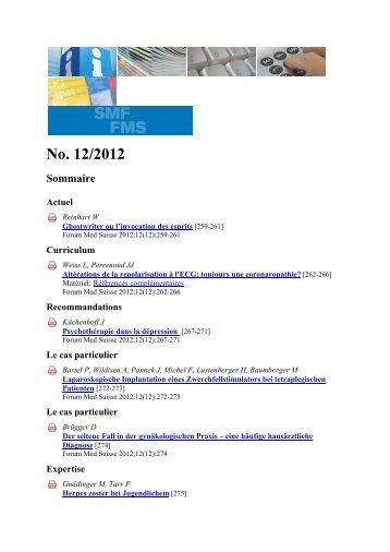 No. 12/2012 Sommaire - IUMSP