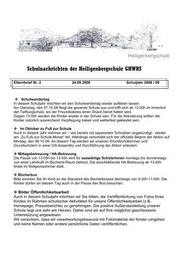 Schulnachrichten der Heiligenbergschule GHWRS - Homepage