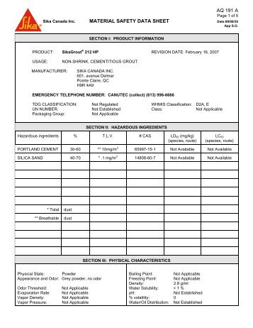 section i: product information - Northland Construction Supplies