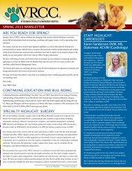 VRCC Spring 2013 Newsletter - Veterinary Referral Center of ...