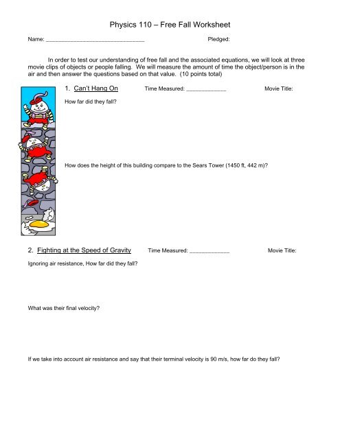 Physics 110 – Free Fall Worksheet - Davidson Physics
