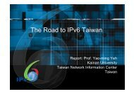 The Road to IPv6 Taiwan - Prof. Yao-ming Yeh (3.6Mb) - IPv6.org.au