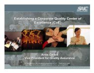 Establishing a Corporate Quality Center of Excellence (CoE ...