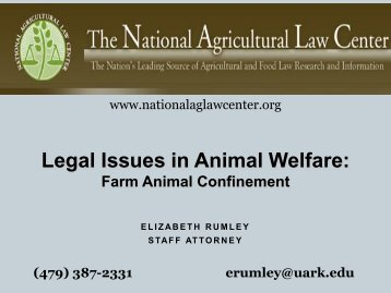 Legal Issues in Animal Welfare: - State Agriculture and Rural Leaders