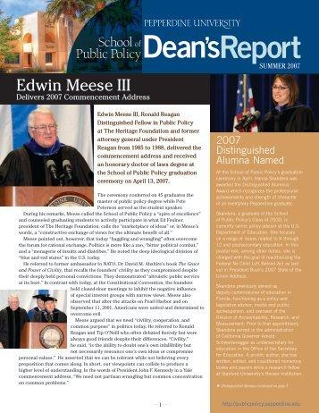Edwin Meese III - Pepperdine University School of Public Policy
