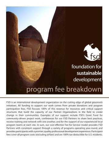 a detailed breakdown of program fees. - Foundation for Sustainable ...
