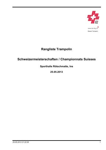 Rangliste Schweizermeisterschaften 2013 - TV Liestal