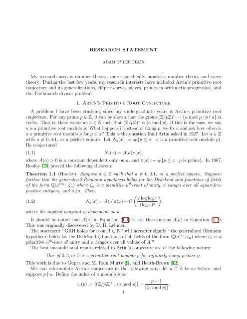 RESEARCH STATEMENT My research area is number theory, more