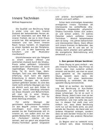 Innere Techniken von Wilfried Rappenecker - Shiatsu-Netz