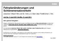 zwischen Villach Hbf und St. Veit/Glan (über Feldkirchen/Ktn - ÖBB