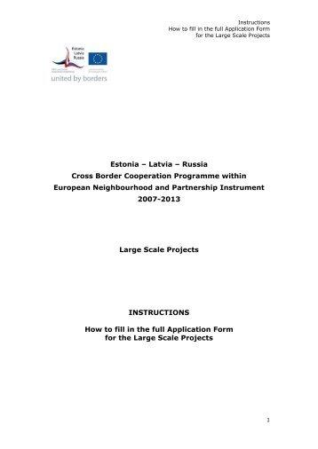 Instructions for filling Application Form - estlatrus