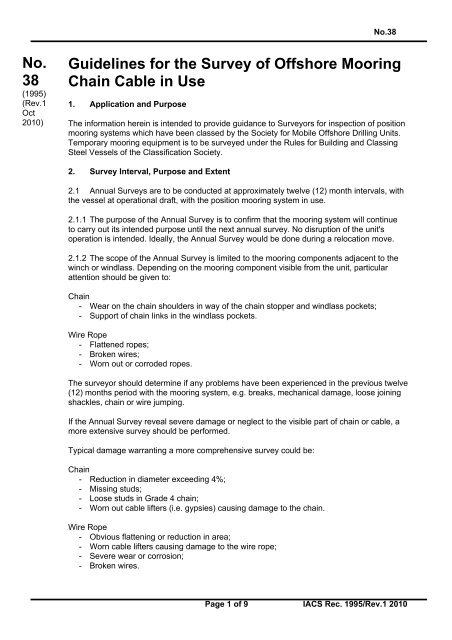 No  38 Guidelines for the Survey of Offshore Mooring Chain     - IACS
