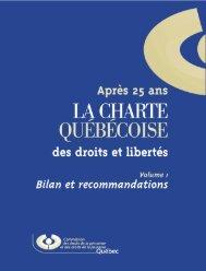 Après 25 ans - La Charte québécoise des droits et libertés ... - CDPDJ