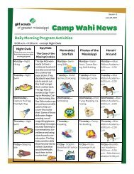 Camp Wahi News - Girl Scouts of Greater Mississippi