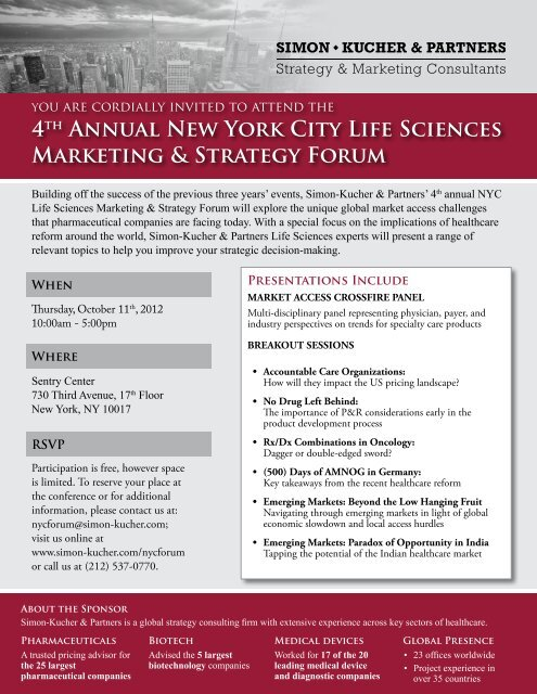 4th Annual New York City Life Sciences Marketing & Strategy Forum