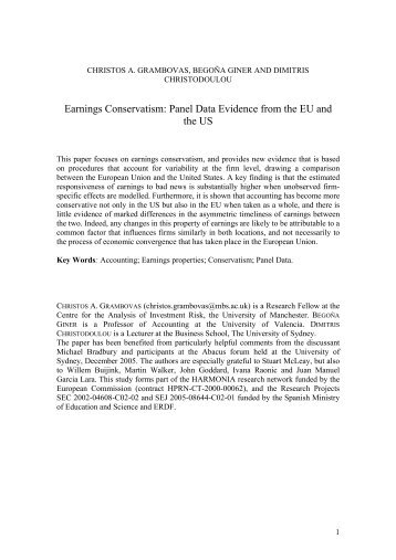 Earnings Conservatism: Panel Data Evidence from the EU and the US