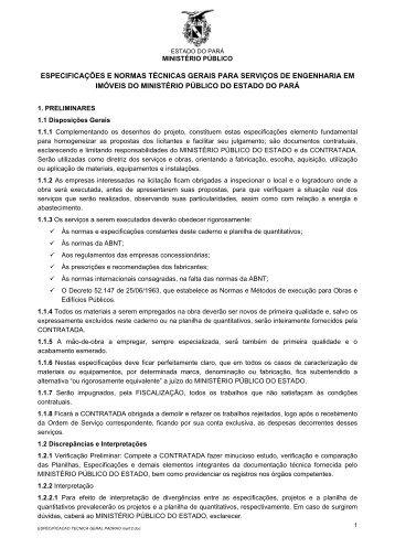 Caderno de Especificações e Normas Técnicas