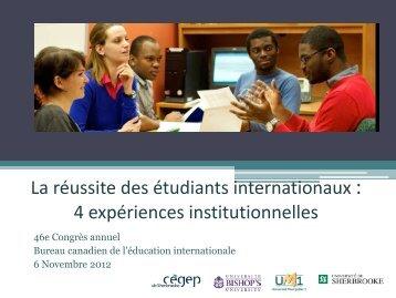 réussite des étudiants internationaux et de leur expérience