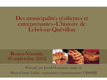 Bilan de la concertation locale - Réseau québécois des villes et ...