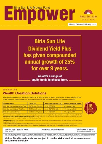 Empower for the Month of February 2013 - Birla Sun Life Mutual Fund