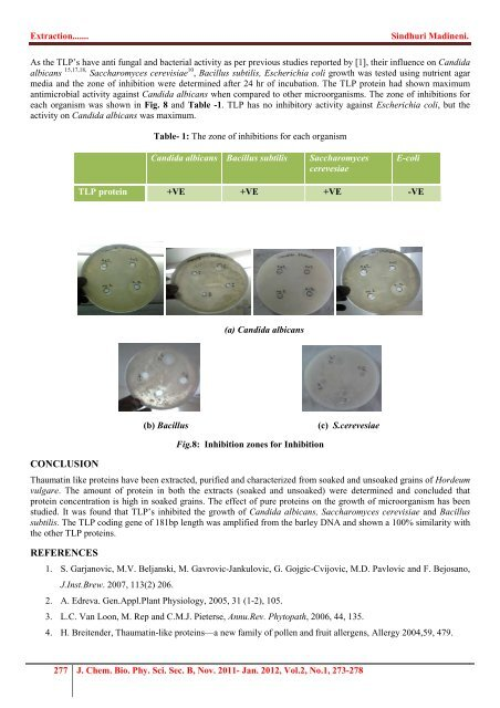 Extraction and partial purification and sequencing of thaumatin-like ...