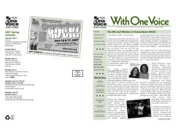 2007 Spring Newsletter - One Voice Mixed Chorus