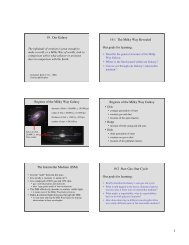 19. Our Galaxy 19.1 The Milky Way Revealed Our goals for learning ...