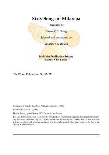 Sixty Songs of Milarepa - Buddhist Publication Society