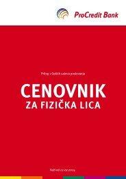 Cenovnik usluga - ProCredit Bank