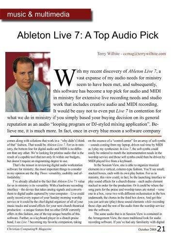 Ableton Live 7: A Top Audio Pick - Christian Computing Magazine