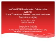 Care Transistions Between Hospitals and Area Agencies on Aging ...