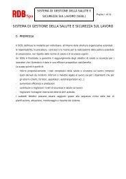 sistema di gestione della salute e sicurezza sul lavoro - Rdb