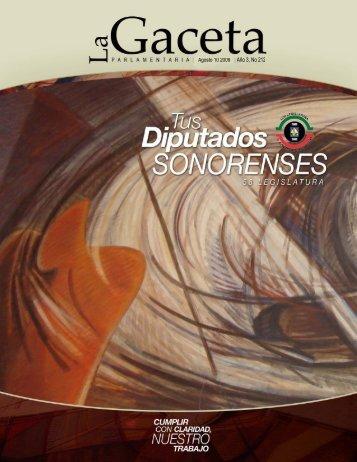 Gaceta Año 3, No 212 - H. Congreso del Estado de Sonora
