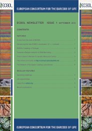 ECBOL Newsletter - European Consortium for the Barcode Of Life