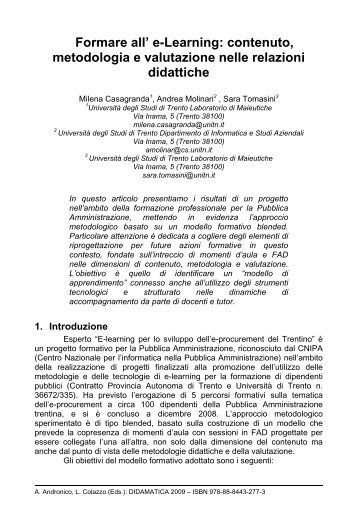 Formare all' e-Learning - Università degli Studi di Trento