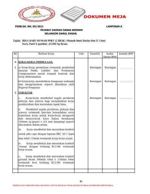 Bina Baru Pprt 3 Bilik Xlsx Sistem Tender Dokumen Dan