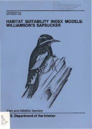 habitat suitability index models: williamson's sapsucker