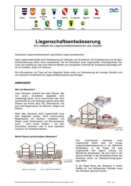 Unterhalt private Liegenschaftsentwässerung (kurz) - AVA-Altenrhein