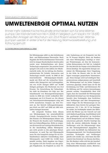 UMWELTENERGIE OPTIMAL NUTzEN - Gebäude-Installation