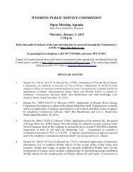 January 2013 Agendas - Wyoming Public Service Commission