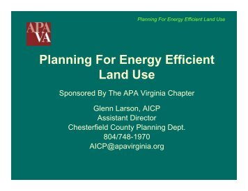 Planning For Energy Efficient Land Use - the Virginia Chapter of the ...