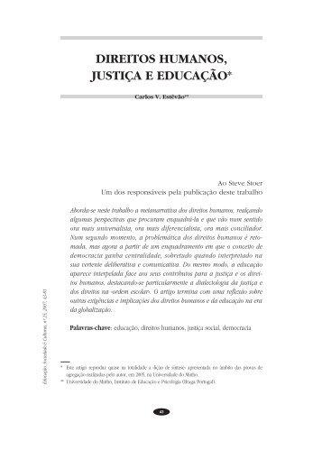 DIREITOS HUMANOS, JUSTIÇA E EDUCAÇÃO* - Faculdade de ...