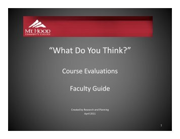 Faculty Guide - What do you think
